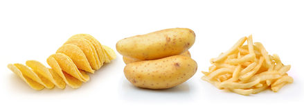 Potato chips, french fries and potato  on white backgrou Stock Photography