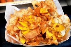 Potato Chips. Fresh cut deep-fried potato chips stock photos