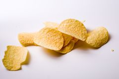 Potato chips. Fried food background royalty free stock photos