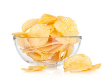 Potato chips in glass bowl Stock Image