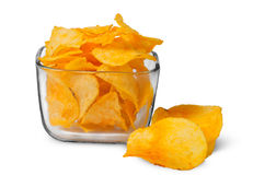 Potato chips in a glass bowl Royalty Free Stock Images