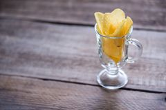 Potato chips in the glass Stock Photo