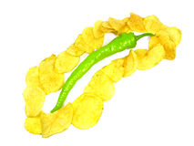 Potato chips and green pepper. On the white background Stock Photos