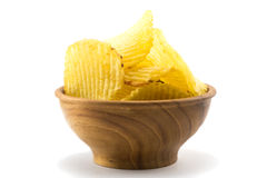 Potato Chips In A Small Wooden Bowl Stock Photography
