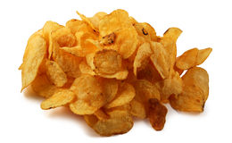 Potato chips isolated. On white Stock Image