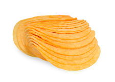 Potato chips. On isolated background Stock Photos