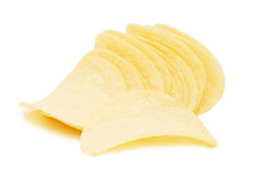 Potato chips isolated over white Stock Images