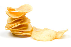 Potato chips isolated on white Stock Images