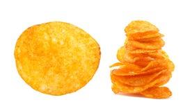 Potato chips isolated on white Stock Photos