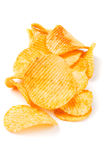 Potato chips isolated on white Royalty Free Stock Photos