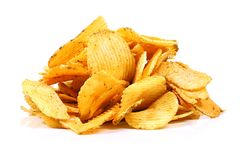 Potato chips isolated on white Royalty Free Stock Photo