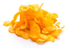 Potato chips isolated on the white Royalty Free Stock Photography