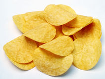 Potato chips isolated on white background. Close up royalty free stock images