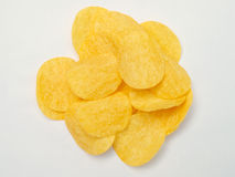 Potato chips isolated on white background. Close up royalty free stock photo