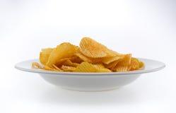 Potato chips isolated, white background Royalty Free Stock Photo