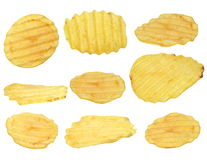 Potato chips isolated on white background,with clipping path Stock Photo