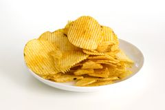 Potato chips isolated on white background Royalty Free Stock Image