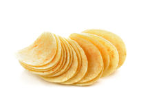 Potato chips isolated on white. Potato chips closeup isolated on a white background royalty free stock images