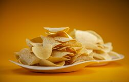 Free Potato Chips On White Plate Stock Image - 192400001