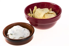 Potato Chips and Onion Dip Royalty Free Stock Photography