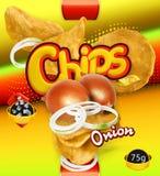 Potato chips. Onion flavor. Design packaging, vector template. Potato chips. Onion flavor. Design packaging, 3d vector template stock illustration