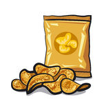 Potato chips. Pack of salted potato chips Royalty Free Stock Images