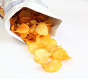 Potato chips. In a package isolated on white background Royalty Free Stock Photography