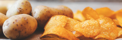 Potato chips panorama Royalty Free Stock Images