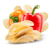 Potato chips. With paprika on white background. Clipping Path Royalty Free Stock Photos