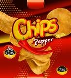 Potato chips. Pepper flavor. Design packaging, vector template. Potato chips. Pepper flavor. Design packaging, 3d vector template royalty free illustration