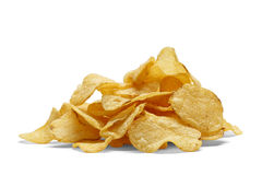 Potato Chips. Pile of Baked Potatoe Chips Isolated on White Background Royalty Free Stock Photography