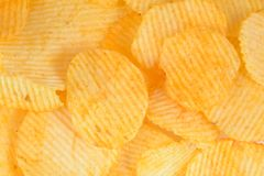 Potato chips. Pile of potato chips in  white background Stock Image