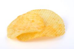 Potato chips. Pile of potato chips in  white background Stock Photos