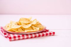potato chips on plate Royalty Free Stock Photo