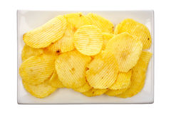 Potato chips on a plate Royalty Free Stock Photography