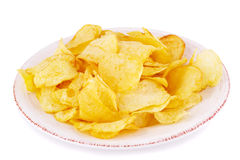 Potato chips on plate Stock Image