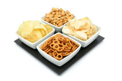 Potato chips and pretzels Royalty Free Stock Images