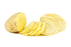 Potato Chips process. Sliced Potatoes and chips / crisps isolated on a white background Stock Photography