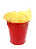 Potato chips in a red cup Royalty Free Stock Images