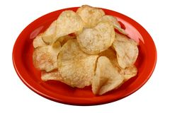 Potato Chips on Red Plate Stock Photo