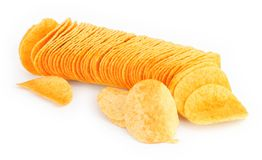 Potato chips in a row Royalty Free Stock Photography