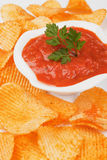 Potato chips and salsa dip Royalty Free Stock Images