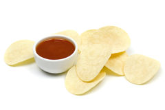 Potato chips and salsa dip Royalty Free Stock Photo