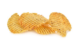 Potato chips with seaweed flavored on white Royalty Free Stock Images