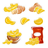 Potato chips set. Vector Stock Images