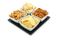 Potato chips and snacks Royalty Free Stock Images