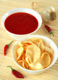 Potato chips, snacks and dip Stock Photos