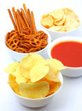 Potato chips, snacks and dip Stock Photography