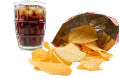 Potato chips with soda royalty free stock photos