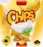 Potato chips. Sour Cream flavor. Design packaging, vector template. Potato chips. Sour Cream flavor. Design packaging, 3d vector template stock illustration